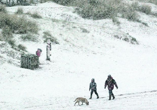 Heavy snow hits Portstewart beach