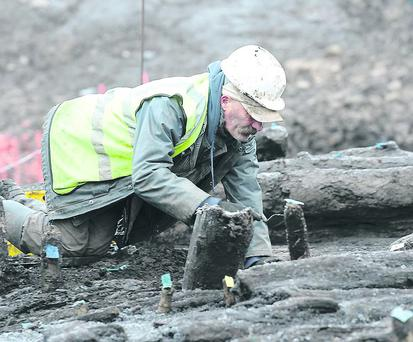 Archaeologists pictured at The site of the Drumclay Crannog in Fermanagh. Presseye.com
