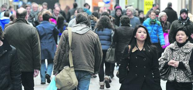 Shoppers in Belfast helped boost retailers