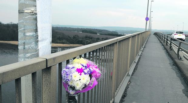 The letter in tribute to Alexandra O'Brien is left near the scene of her death