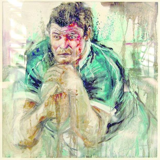 Painting of Brian O'Driscoll by artist Emma Spence