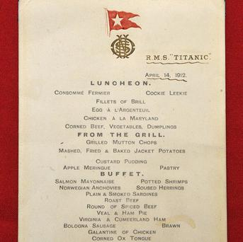 A menu given to first class passengers on the day of the sinking of the Titanic