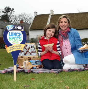 Louisa-Jane Vance and her daughter Arianna, eight, enjoying a picnic at the Ulster Folk and Transport Museum (PA/Kingsmill Lunch Spots)