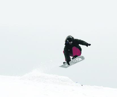 A snowboarder at Spelga Dam on Sunday