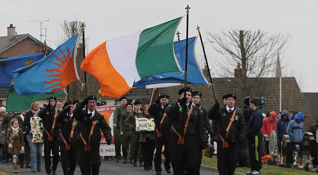 Members of the 32 County Sovereignty Movement gather for their Easter commemoration at the City Cemetery in Londonderry