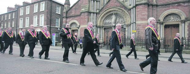 Monday's Apprentice Boys parade passes St Patrick's Church, Donegall Street
