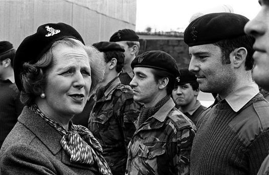 Prime Minister Margaret Thatcher at St Angelo Airport outside Enniskillen inspecting the 39 Field Regiment of Royal Artillery in 1981.