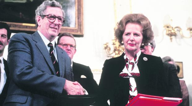 The Anglo-Irish Agreement signing at Hillsborough between Mrs Thatcher and Taoiseach Garret FitzGerald in 1985