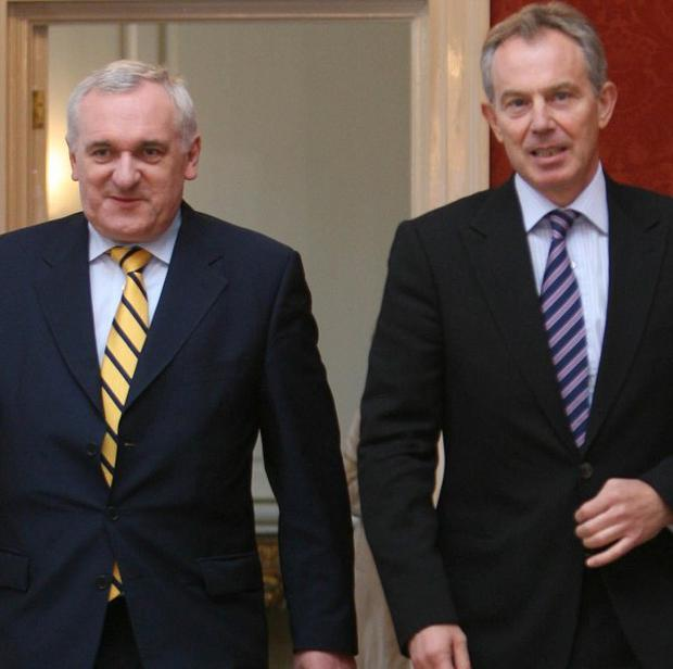 Ex-UK prime minister Tony Blair with former Irish premier Bertie Ahern