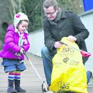 David Meade and daughter Tilly keeping Banbridge clean