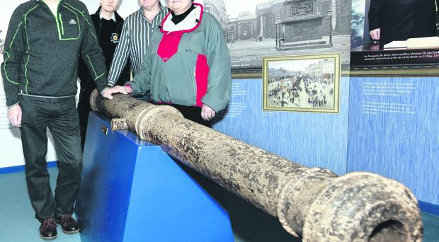 John Houston Randal Armstrong, Simon Cosbey and Olwen McConnell who are part of the Castlereagh Sub Aqua Club who found the cannons while diving in Larne Lough