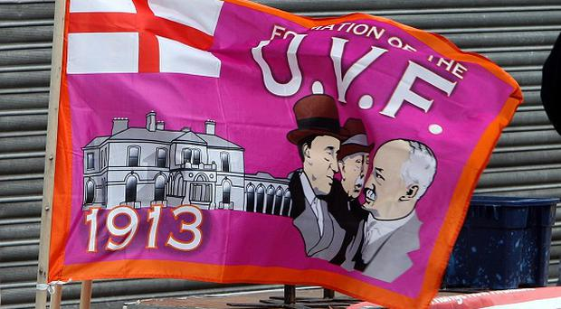 Ulster Volunteer Force flags in east Belfast