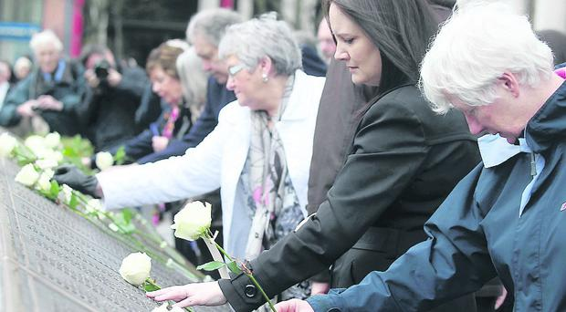 Belfast marks the 101st anniversary of the sinking of the RMS Titanic at the Titanic Memorial in the City Hall grounds