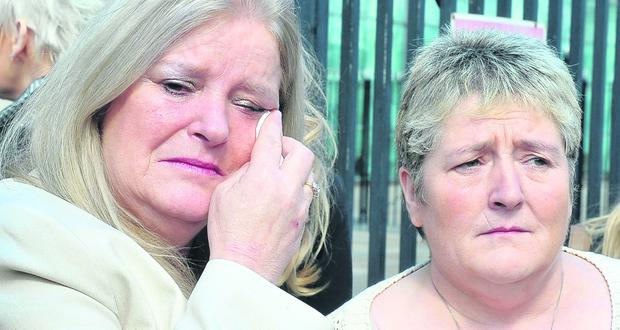 Paddy Harkin's family (L-R) Lucia (sister) and Jacqueline (sister) outside Laganside Courts today after the sentencing today - A man has been told he will serve a minimum of sixteen years in jail for the murder of a Londonderry man.Paddy Harkin, 49, was beaten to death with a hammer in his flat in Bayview Terrace in February 2011. He died from head injuries.Paul Greatbanks, 48, whose address was given as Maghaberry Prison, had pleaded guilty to the murder.