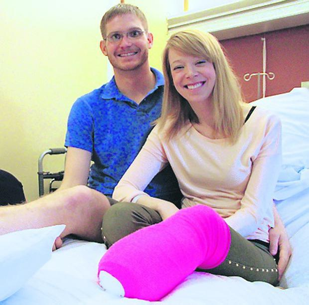 Adrianne Haslet-Davis, a dance instructor, and her husband, Adam, were among the more than 170 victims injured at the Boston Marathon last Monday. Surgeons were forced to amputate part of her leg, five inches below her left knee.