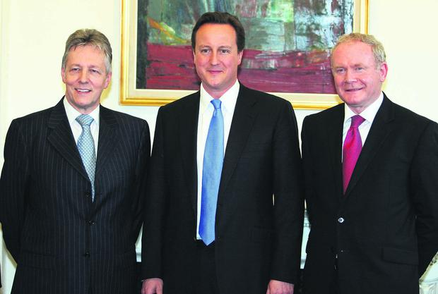 Press Eye Ltd Thursday 20th May 2010 Prime Minister David Cameron, With Northern Ireland First Minister Peter Robinson (left) and Deputy First Minister Martin McGuinness, at Stormont Castle Belfast .