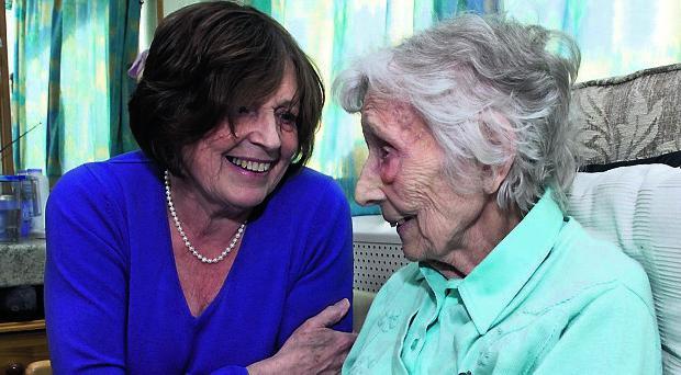 Thackeray Residential Home resident Letty Doherty (99) with her daughter Josie McCann. PIcture Martin McKeown. Inpresspics.com. 1.5.13