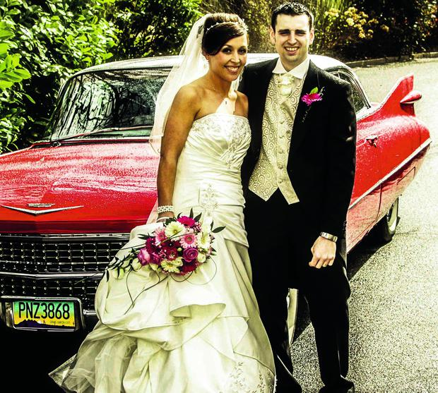 Georgina McAleese and Anthony Gibson on their wedding day at Tullyglass House Hotel