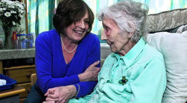 Thackeray Residential Home resident Letty Doherty (99) with her daughter Josie McCann