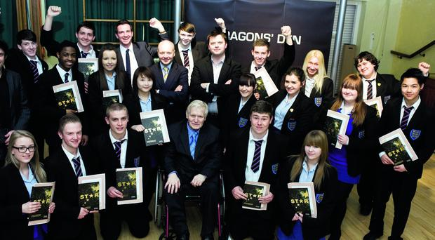 Chair of Castlereagh Borough Council's Economic Development Committee, Alderman Jack Beattie, Shredbank co-owners Philip Bain and James Carson, Colin McCabrey and Patrick McDonald of Castlereagh Borough Council's Economic Development Department and students from Newtownbreda High School took part in the Dragons Den Initiative