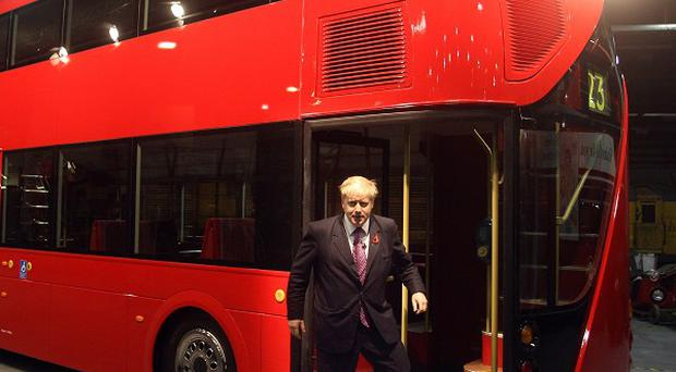 London Mayor Boris Johnson is visiting the Wrightbus manufacturing facility in Ballymena, Co Antrim