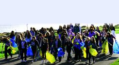 Girl guides take part in the Belfast Telegraph's 'Big Spring Clean' along the North Down Coastal Path