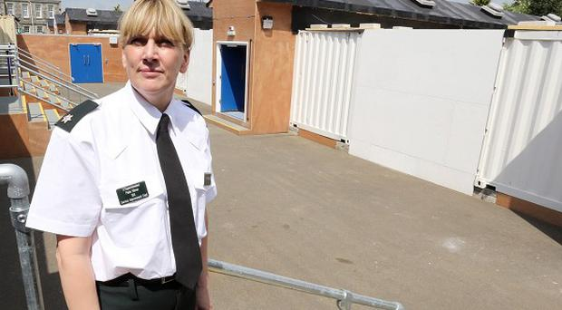 Superintendent Paula Hillman at the temporary cell blocks which have been built at Omagh police station in Co Tyrone