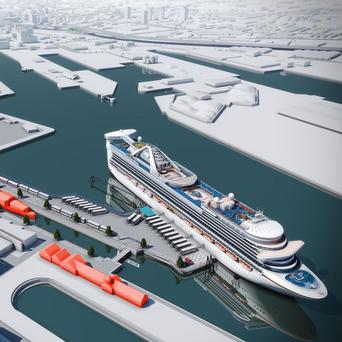 An artist's impression of how the the purpose-built cruise facility at Belfast Harbour could look (Belfast Harbour/PA)