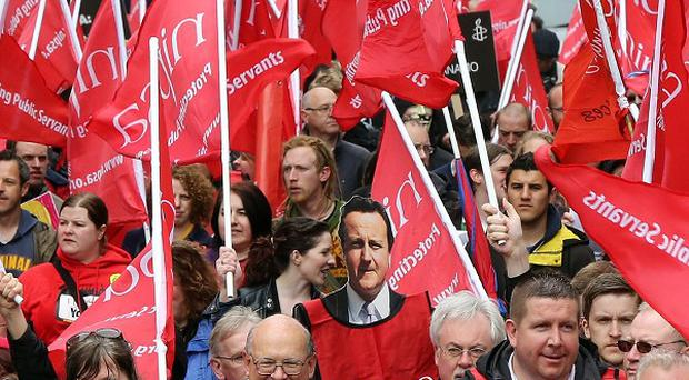 Anti-G8 protesters during a rally in Belfast city centre on Saturday