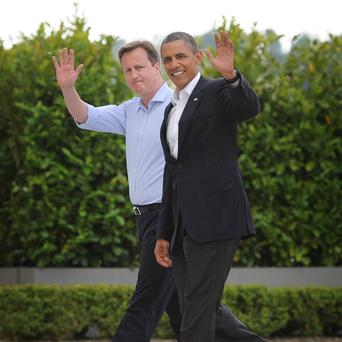Prime Minister David Cameron welcomes President of the United States, Barack Obama, to this year's G8 Summit