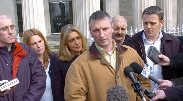 Michael McConville spoke to the media, with members of his family, after the inquest in 2004 into his mother Jean McConville's death