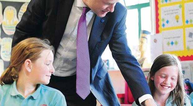 Nick Clegg Deputy Prime Minister visited pupils at Oakgrove Integrated Primary and Nursery School