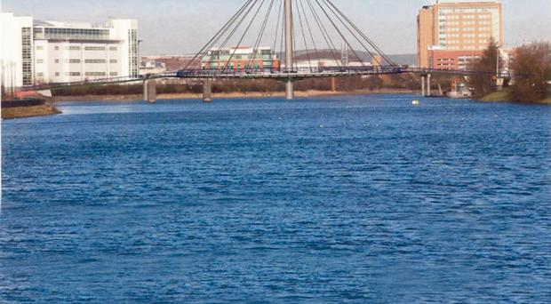 Artist's impression of a footbridge which will connect over the River Lagan from the Gasworks area of the Lower Ormeau Road to the Ormeau Embankment