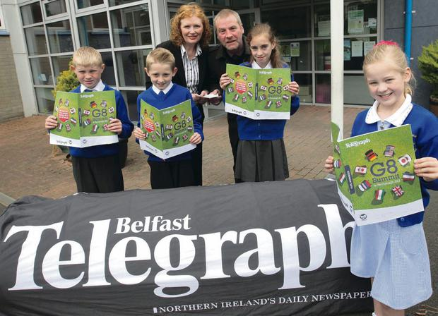 St Bridget's Downpatrick: Gregory Kelly, Joshua Sharvin, Cloideach Phillips, Miya-rois Gaffney from P6, Jennifer O' Reilly from Belfast Telegraph and David O'Haire from Trócaire