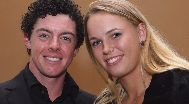 HSBC Champions - Welcome Reception...SHANGHAI, CHINA - NOVEMBER 01: Rory McIlroy of Northern Ireland (L) poses alongside his girlfriend Caroline Wozniacki of Denmark during the Welcome Reception at the Waitanyuan prior to the start of the WGC-HSBC Champions on November 1, 2011 in Shanghai, China. (Photo by Ross Kinnaird/Getty Images)...S