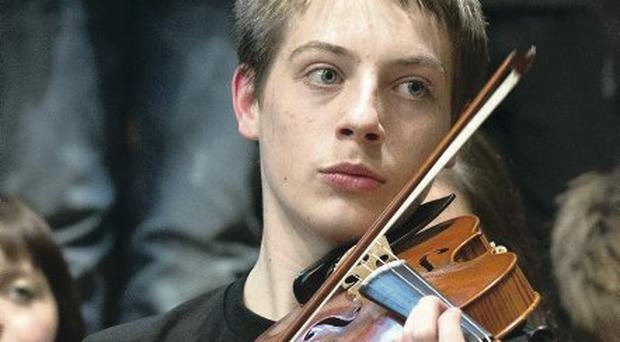 One of the young musicians who performed during the concert
