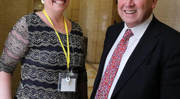 Ann Travers , the sister of an IRA murder victim, with TUV leader Jim Allister in the great hall at Stormont