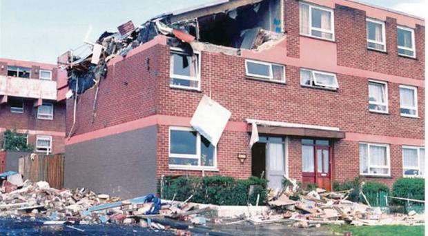 The scene after the IRA bomb exploded in the Creggan estate in August 1988