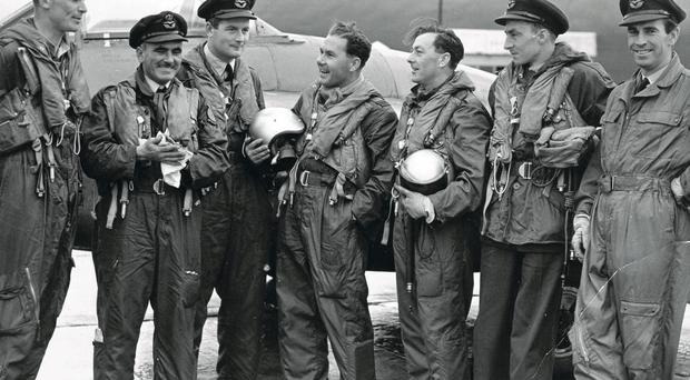 The 502 (Ulster) Squadron Royal Auxiliary Air Force including Dick Spencer (third from right) in the 1950s