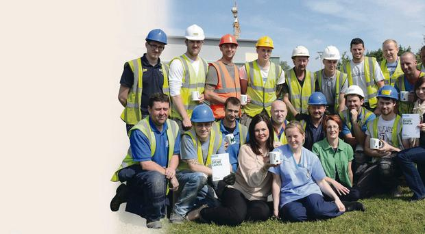 Construction workers and staff from Craigavon Area Hospital
