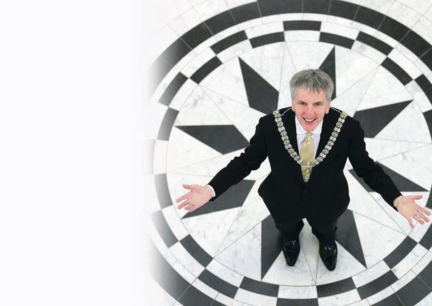 Mairtin O Muilleoir in Belfast City Hall