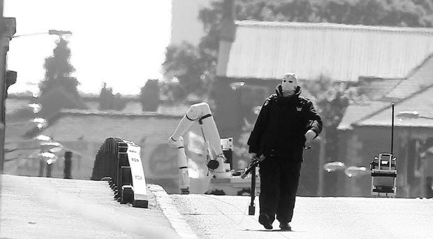 A bomb disposal officer at the scene of the security alert