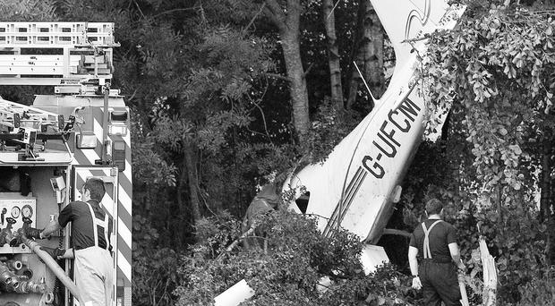The crumpled wreck of the light airplane