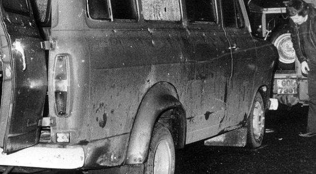 A minibus near Whitecross in South Armagh where 10 Protestant workmen were shot dead in 1976, a day after the Reavey brothers were shot