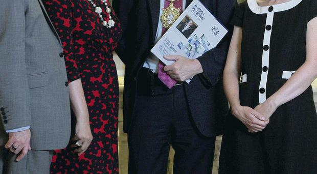 Belfast Poet Laureate Sinead Morrissey (right) with, from left, Damian Smyth, Head of Literature and Drama at the Arts Council; Mary Trainor-Nagele of Arts & Business and Lord Mayor Mairtin O Muilleoir