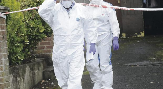 Forensic officers at the scene of the stabbing at Woodvale Drive in Dungannon