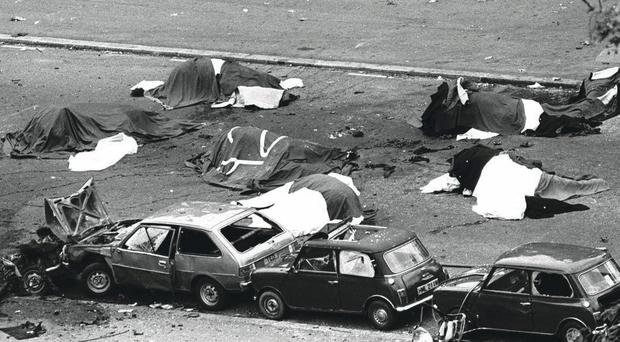 The grim aftermath of the Hyde Park bombing which killed four soldiers and seven horses