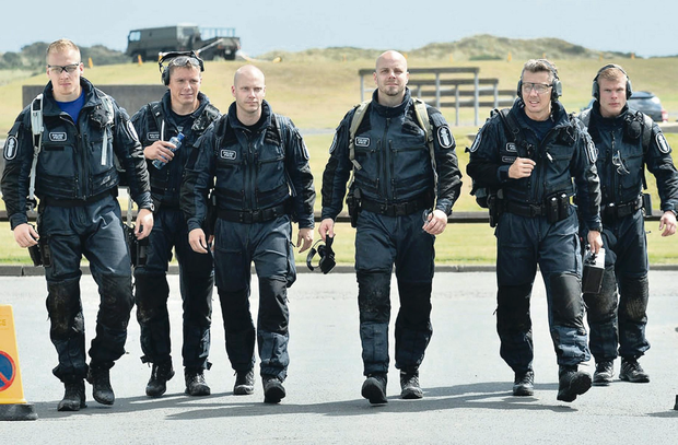 Finland Swat team yesterday at the World Police and Fire Games at Ballykinler
