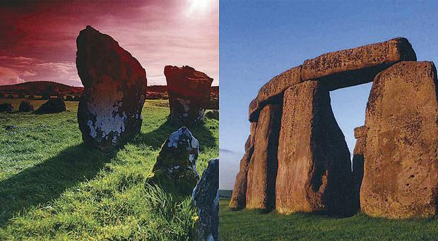 Beaghmore stone circle in Tyrone (left) and Stonehenge