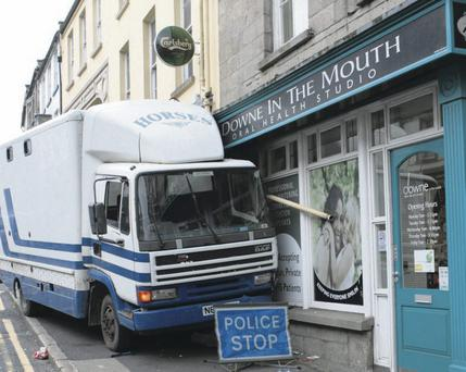 The scene in Irish Street, Downpatrick, two weeks ago when a horse transporter